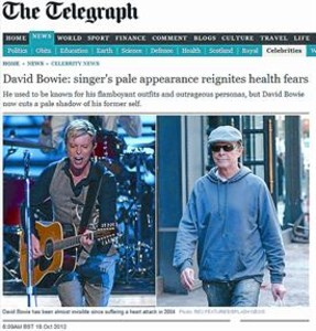 Dos imgenes, una antigua y otra reciente, de Bowie, en 'The Telegraph'.