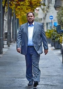 El candidato de ERC, Oriol Junqueras, despus de la entrevista, el pasado jueves.