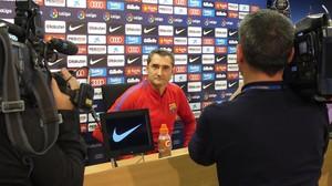 Ernesto Valverde, hoy, en la sala de prensa de la Ciudad Deportiva Joan Gamper.
