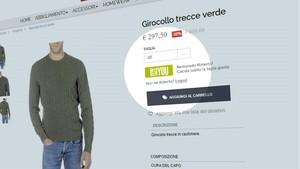 Página web de la tienda de ropa italiana Piacenza, donde se ha probado la app I size you.
