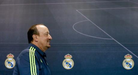 L'entrenador del Reial Madrid, Rafa Ben�tez, durant la roda de premsa que ha ofert aquest dissabte despr�s de l'entrenament de l'equip a Valdebebas.