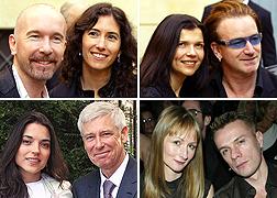 De izquierda a derecha y de arriba abajo: The Edge y Morleigh Steinberg; Ali Hewson y Bono; Mariana Teixeira y Adam Clayton; y Ann Acheson y Larry Mullen Jr.