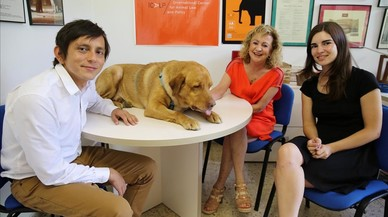 Teresa Gim�nez Candela,directora del ICALP, con sus colegasCarlos Contreras yMacarena Montes, y el perroNico.