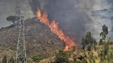 Les imatges de l'incendi forestal de Collserola