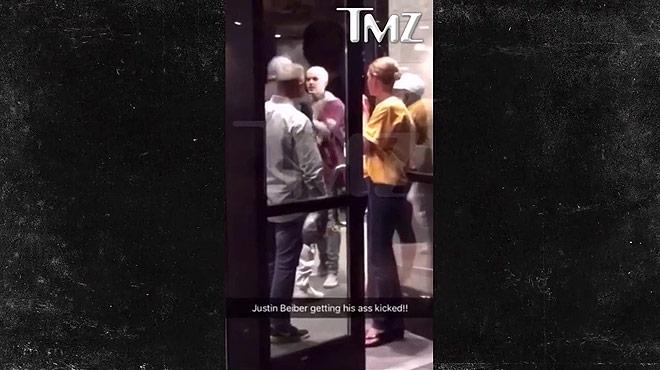 Justin Bieber, a cops de puny amb un fan