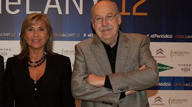 Julia Otero y Ferran Monegal, en la gala de entrega de premios de Català de l'Any.