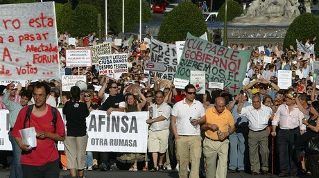 Manifestaci�n de afectados de Afinsa y F�rum Filat�lico, en Madrid, en el 2006.
