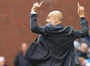 Pep Guardiola, durante el partido contra el Stoke.
