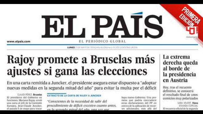 Rajoy promet més retallades a Brussel·les si guanya el 26-J, segons 'El País'