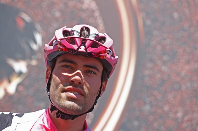 Tom Dumoulin, en el podio del Giro.