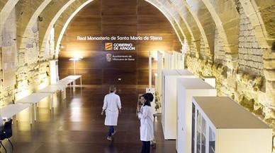 Una de las salas del monasterio de Sijena que albergar�n las obras, ayer.