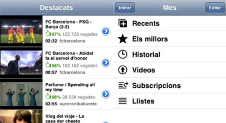 Pantallas de la aplicacin de Youtube para iPhone.