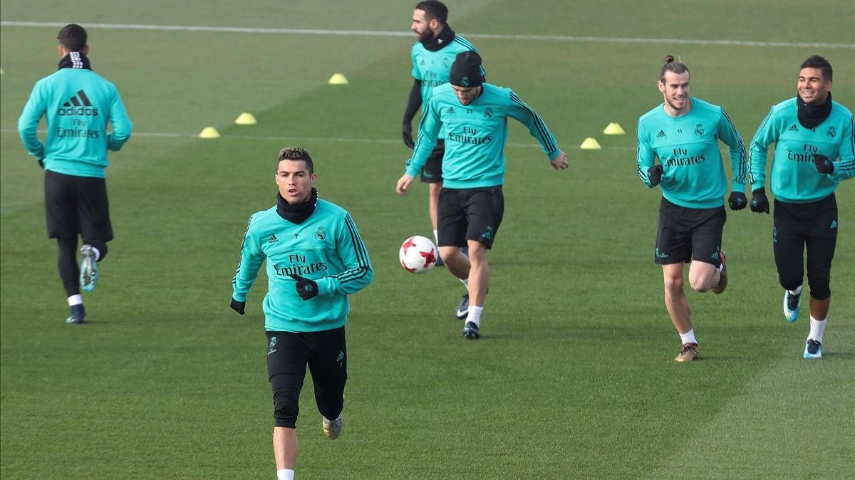 Cristiano Ronaldo, en el entrenamiento del Madrid de este miércoles en Valdebebas