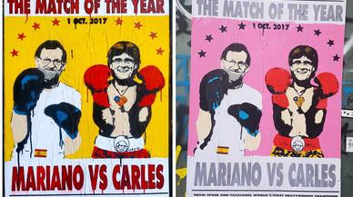 Rajoy i Puigdemont, del petó al combat de boxa