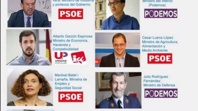 La proposta ministerial de Podem Saragossa: Errejón per a Interior i Garzón per a Economia