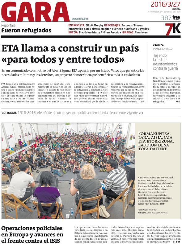 """ETA critica los atentados de Bruselas por matar """"sin compasi�n"""" a """"simples ciudadanos"""""""