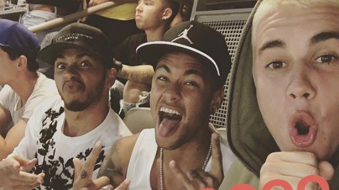 El 'selfie' viral de Neymar, Bieber i Hamilton