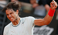 Nadal celebra la victoria ante Berdych. REUTERS