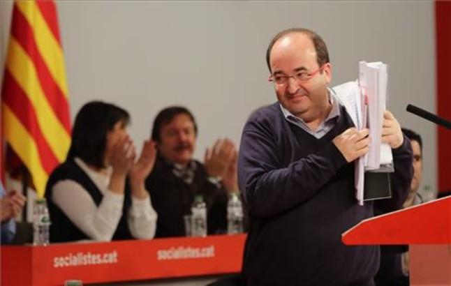 Miquel Iceta, en el Consell Nacional del PSC, este domingo.
