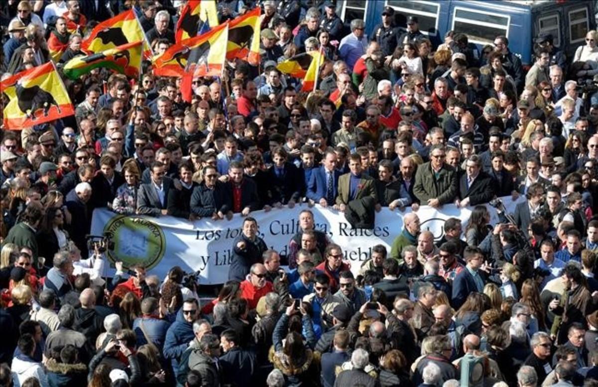 Manifestación a favor de los toros en Valencia