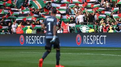Banderas palestinas en el partido del Celtic y el Hapoel israel�.