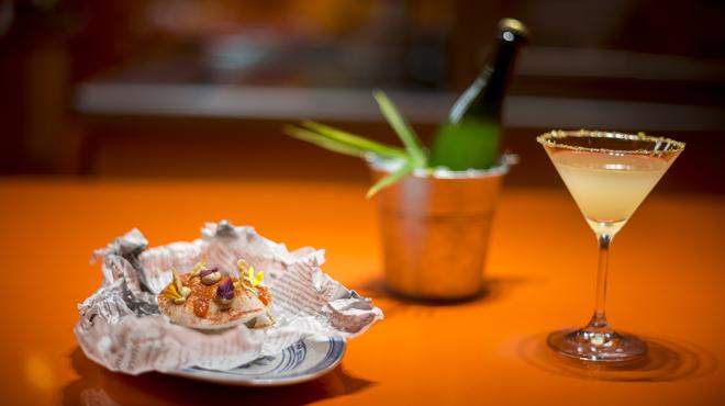 Dorayaki de cerdo ibérico y gambas del restaurante nobook