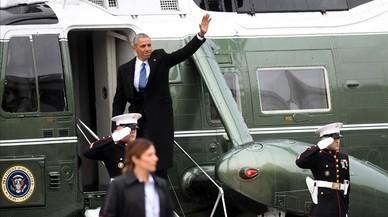 Obama abandona el Capitolio en helicóptero.