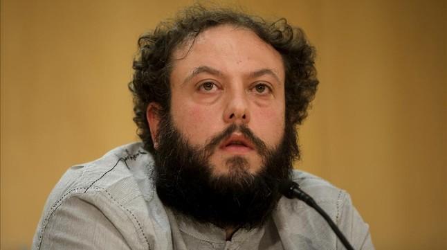 El concejal de Ahora Madrid Guillermo Zapata, tras anunciar su dimisión como titular de Cultura el pasado 15 de junio.