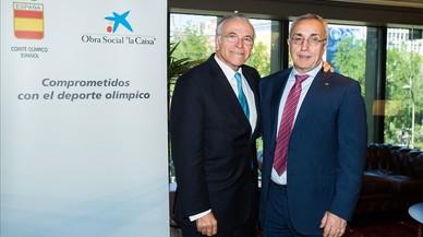 El presidente de la Fundaci�n Bancaria La Caixa, Isidre Fain�,posa junto al presidente del COE, Alejandro Blanco.