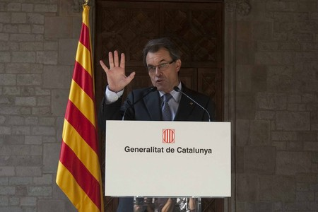 Artur Mas, durante su comparecencia en el Palau de la Generalitat, este mircoles. 
