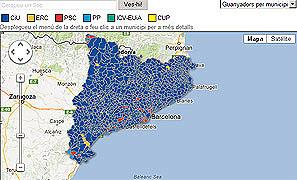Mapa de los resultados electorales por municipios