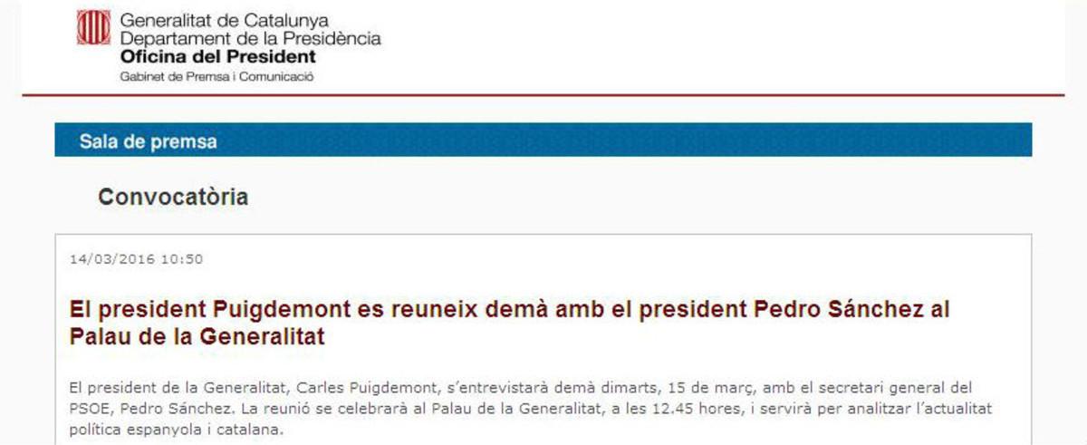 La Generalitat inviste presidente por error a Pedro Sánchez