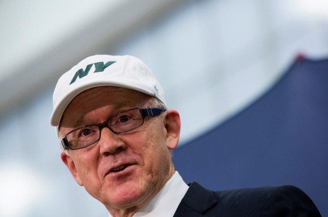 FILE PHOTO - New York Jets owner Johnson speaks during a news conference at the Boys and Girls Club in Newark