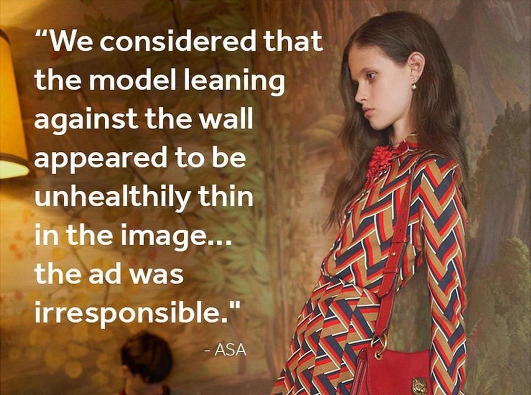 """Gran Bretaña censura una campaña de Gucci por la """"delgadez enfermiza"""" de la modelo"""