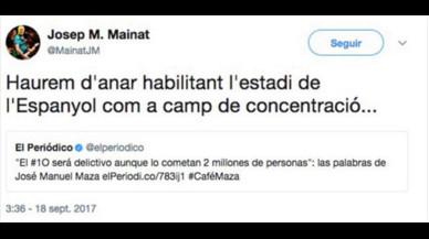 El 'trinco' Mainat esborra un tuit després de l'amenaça de l'Espanyol de denunciar-lo