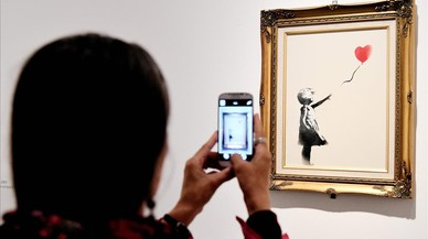 Un grafiti de Banksy, la obra de arte favorita de los británicos