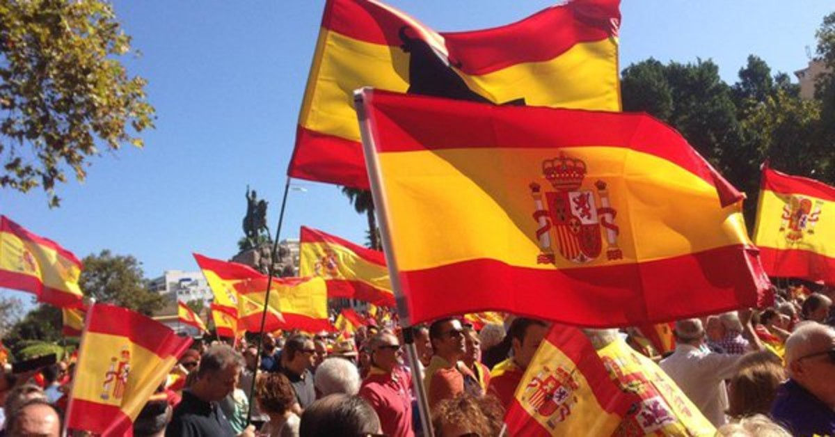 Manifestación unionista en Palma de Mallorca, este sábado