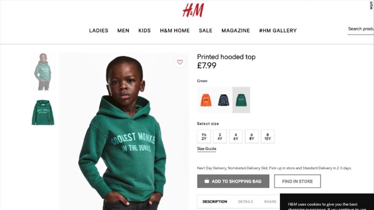 H&M la lía eligiendo a un niño negro con el mensaje 'el mono más guay de la selva'