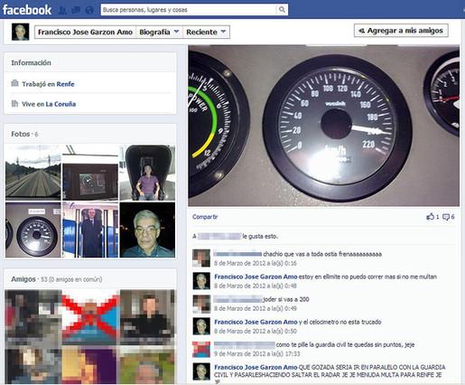 El maquinista se jactaba en Facebook de su velocidad a los mandos del tren