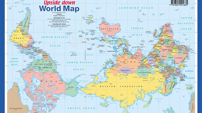 El mapamundi que situa Austràlia al centre del planeta
