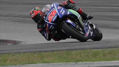 Viñales, durante las pruebas de pretemporada en Malasia con su Yamaha.
