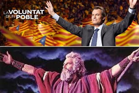 La red compara el cartel electoral de CiU con Moisés