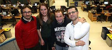 De izquierda a derecha, Catanzaro, Biesot, S�nchez y Baquero. FRANCESC CASALS
