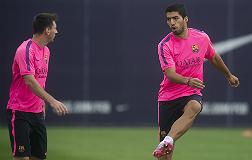 Su�rez y Messi durante el entrenamiento de hoy.