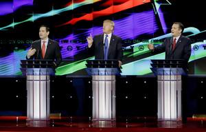 Marco Rubio, Donald Trump y Ted Cruz.