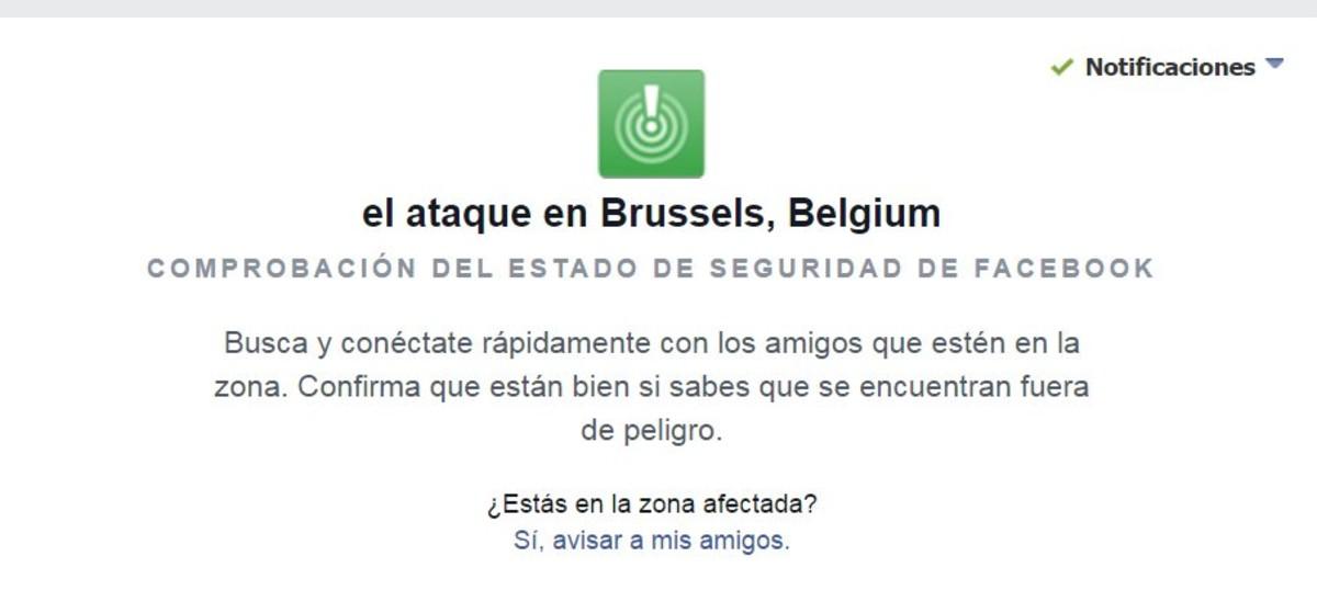 Facebook activa el botón de seguridad tras las explosiones de Bruselas.