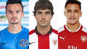 Cristian Ganea ,Inigo Lekue y Alexis Sanchez