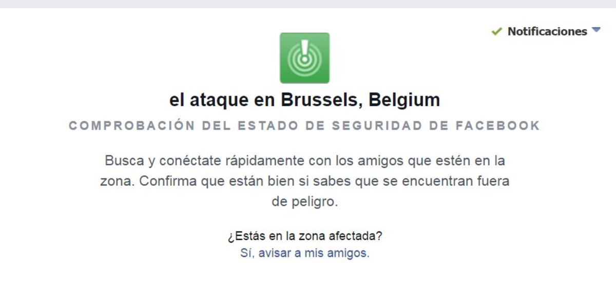 Facebook activa el bot�n de 'estoy bien' tras las explosiones de Bruselas