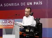 Pablo Echenique en rueda de prensa el 27-J, en Madrid.