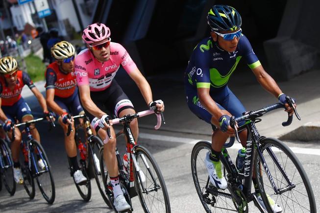Tom Dumoulin por detrás de Quintana y por delante de Nibali, en los Dolomitas.